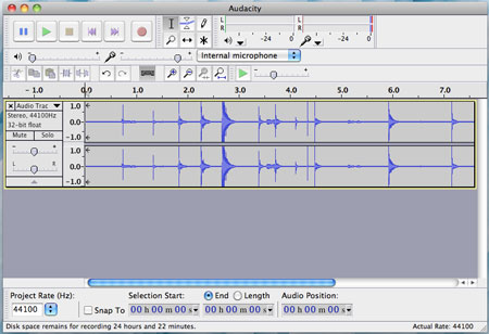 Audacity user interface on a mac.