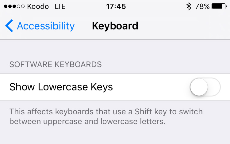 ios settings show lowercase