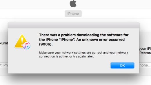 Fixing iTunes Error 9006 - MacTip
