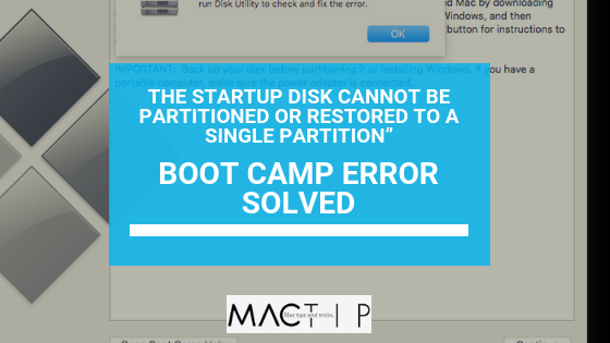 Boot Camp Error Solved