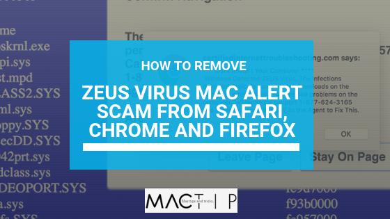 How To Remove Zeus virus Mac alert scam from Safari, Chrome